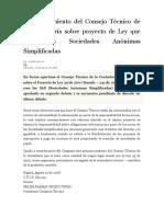 Pronunciamiento Del Consejo Técnico de La Contaduría Sobre Proyecto de Ley Que Crea Las Sociedades Anónimas Simplificadas