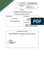 3. PTS Uso de Taladro Manual