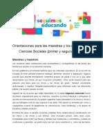 Orientaciones docentes - Ciencias sociales - 1° y 2° ciclo