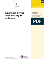 Multiple Intelligences - Learning Styles and Writing in Science - National Strategy Guide