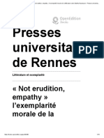 Littérature et exemplarité - «Not erudition, empathy» l'exemplarité morale de la littérature selon Martha Nussbaum - Presses universitaires de Rennes