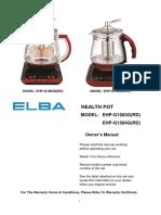 Elba Health Pot User-manual-EHP-G1583GRD-and-EHP-G1584GRD