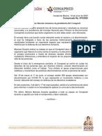 200619 Comunicado No. 074_presentación_renuncia_presidencia_Conapred