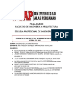 GERENCIA DE PROYECTOS E INTERPRETACION DE LA NORMA ISO 9001