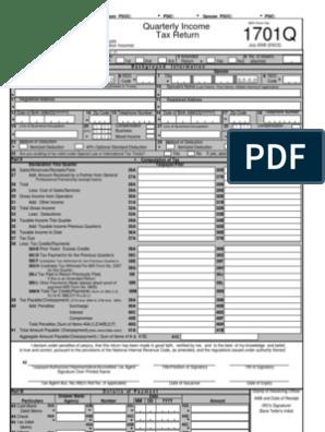 1701Q | Tax Deduction | Income Tax