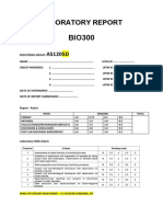 lab report front page BIO300