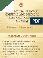 Hinduja hospital Research department