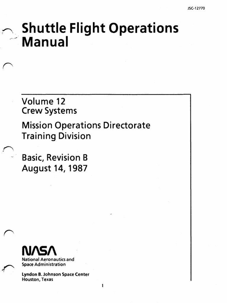 Shuttle Flight Operations Manual Vol 12 Crew Systems | Space Shuttle  Orbiter | Space Shuttle