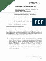MEMORÁNDUM RCP-SRCP-DRCP-006-2017 MODIFICACIONES O CORRECCIONES EN LAS INSCRIPCIONES DE SIRECI