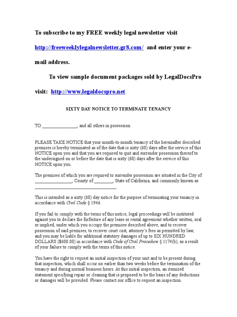 Sample 60 Day Notice To Vacate For California Leasehold Estate