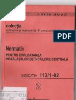 I13!1!02 - Normativ Pentru area Instalatiilor de Incalzire Centrala