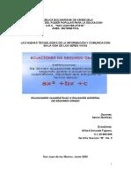 Ecuaciones de segundo grado o funciones cuadráticas