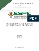 Aplicaciones práctica - Ecuaciones Diferenciales de Ricatti