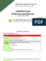 LESSON PLAN- Week 4( Second Quarter)- September 10-14, 2018