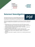 Internet Investigation Lesson Sample