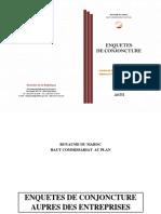 Enquête de conjoncture_ industrie de transformation, mines et énergie - Bâtiment et travaux publics (réalisations 1er trimestre 2014 et prévisions 2ème trimestre 2014), Juin 2014, (+ résumé en version arabe)