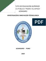 SEPARATA INVESTIGACIÓN E INNOVACIÓN TECNOLÓGICA- 2020