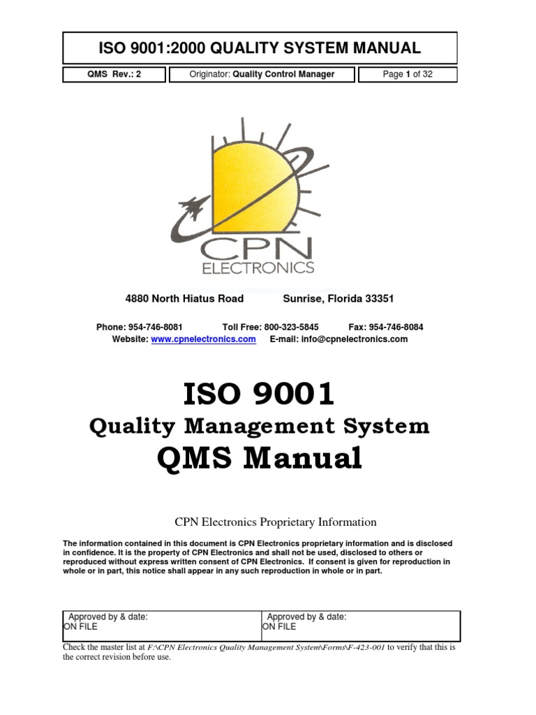 CPN Electronics Quality Manual | Quality Management System | Iso 9000