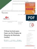 9 Dicas Incríveis para Fazer um Pré Projeto de Pesquisa de Mestrado (1).pdf
