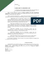 Sample Secretary's Certificate Alfonso Siy