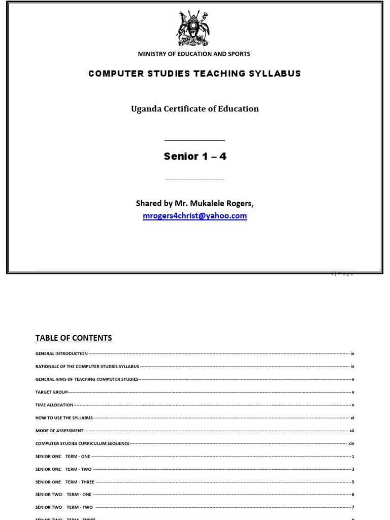 Uganda Computer Studies Teaching Syllabus for Secondary Schools