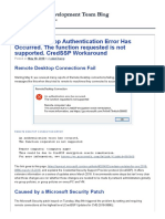 Remote Desktop Authentication Error Has Occurred. The function requested is not supported. CredSSP Workaround
