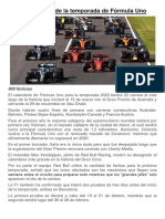 Calendario 2020 de la temporada de Fórmula Un1