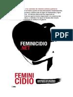 Tipos de feminicidio o las variantes de violencia extrema patriarcal