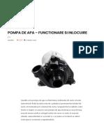 Pompa de Apa – Functionare Si Inlocuire – Autotehnica