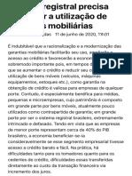 ConJur - Sistema registral precisa favorecer utilização de garantias mobiliárias