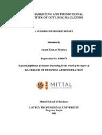 Internship report of outlook magazine