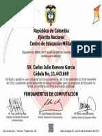 CERTIFICADO FUNDAMNETOS COMUPUTACIÓN SV.  ROMERO GARCIA CARLOS