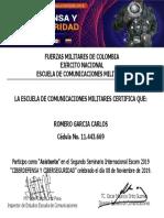 CERTIFICADO SEMINARIO CIBER DEFENSA SV.  ROMERO GARCIA CARLOS