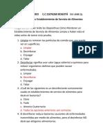 CUESTIONARIO CÓMO MANTENER UN ESTABLECIMIENTO DE SERVICIO DE ALIMENTOS LIMPIO