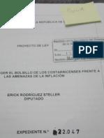 EXPEDIENTE Nº 22047 - LEY PARA PROTEGER EL BOLSILLO DE LOS COSTARRICENSES FRENTE A LAS AMENAZAS DE LA INFLACIÓN