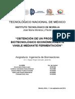 """Examen 1 Biorreactores """"OBTENCIÓN DE UN PRODUCTO BIOTECNOLÓGICO ECONÓMICAMENTE VIABLE MEDIANTE FERMENTACIÓN"""".pdf"""