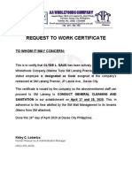 Request to work Certificate