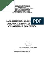 LA ADMINISTRACIÓN DEL DESEMPEÑO COMO UNA ALTERNATIVA DE MÉRITO Y TRANSPARENCIA EN LA GESTIÓN