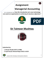 Cost and Managerial Accounting Report Final