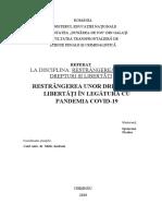 Restrangerea unor drepturi și libertăți în legătură cu pandemia CoVid-19 (coronavirus)