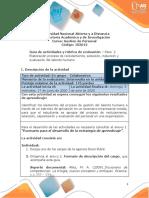 Guia de actividades y Rúbrica de evaluación - Unidad 1 - Paso 2 - Elaboración proceso de reclutamiento, selección, inducción y evaluación del talento humano