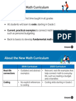 Ontario's new Math Curriculum at a Glance