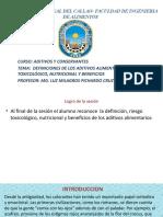definiciones de los aditivos alimentario riesgo toxicológico, nutricional y beneficios.pptx