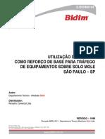 UTILIZAÇÃO DE GEOWEB COMO REFORÇO DE BASE PARA TRÁFEGO DE EQUIPAMENTOS SOBRE SOLO MOLE SÃO PAULO - SP (tecnico)
