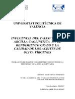 DRAGO - INFLUENCIA DEL TALCO Y DE LA ARCILLA CAOLINÍTICA  EN EL RENDIMIENTO GRASO Y LA CALIDAD DE...