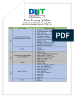 Excel Training Syllabus