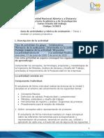 Guía de actividades y rúbrica de evaluación - Unidad 1 - Tarea  1 - Analizar un proceso productivo