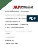 COSTOS Y PRESUPUESTOS  PRACTICA 1 VARGAS VELARDE ALFONSO ALBERTO JULIACA
