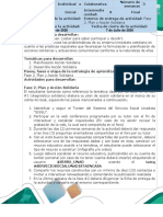 Guía de Ruta y Avance de Ruta para la Realimentación - Fase 2. Plan y Acción Solidaria