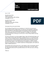 Justice in Policing Act Letter